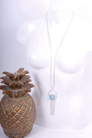 Aqua Stone & Tassel Long Necklace