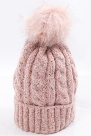 Aran Pom Pom Hat Blush