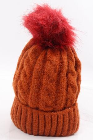 Aran Pom Pom Hat Chestnut