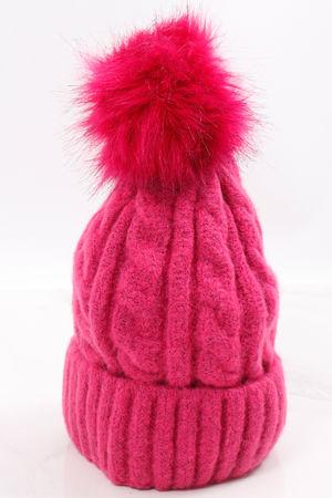 Aran Pom Pom Hat Lipstick Pink