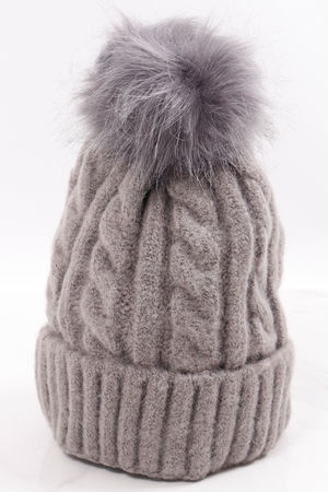 Aran Pom Pom Hat Marl Grey
