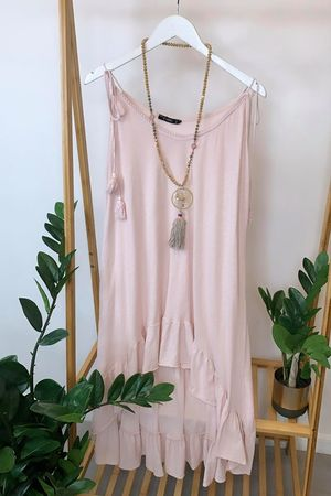 Archie Frill Tie Shoulder Tunic Blush Pink