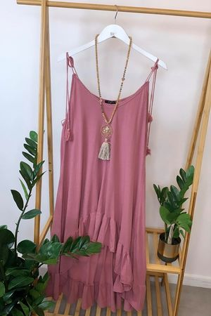 Archie Frill Tie Shoulder Tunic Indian Pink