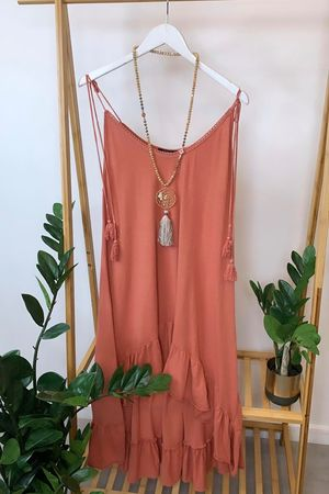 Archie Frill Tie Shoulder Tunic Terracotta Rose
