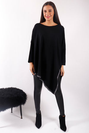 Asymmetric Bling Knit Black & Silver