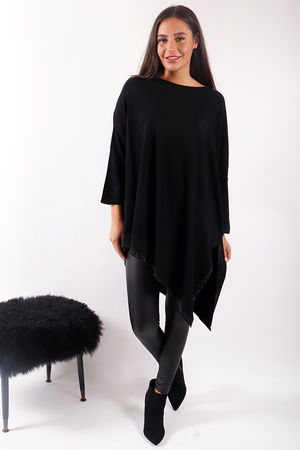 Asymmetric Bling Knit Jet Black