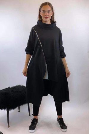 Asymmetric Cowl Longline Sweat Black **