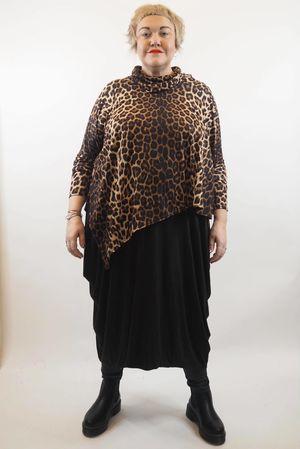 Asymmetric Leopard Cowl Top