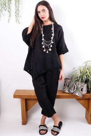 Asymmetric Linen & Silk Top Black