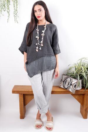 Asymmetric Linen & Silk Top Graphite