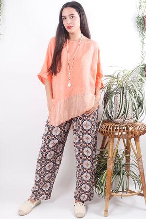 Asymmetric Linen & Silk Top Peach