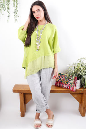 Asymmetric Linen & Silk Top Summer Lime