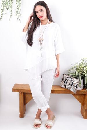 Asymmetric Linen & Silk Top White