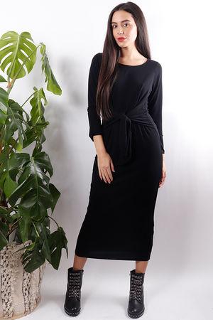 Audrey Tie Front Dress Soft Black