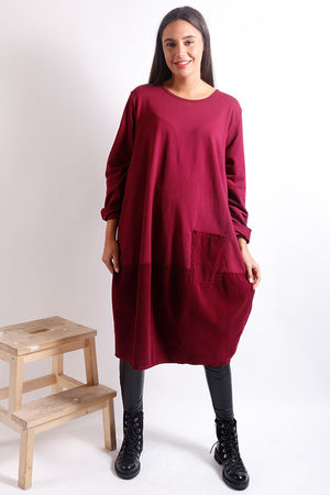 Baby Cord Cocoon Dress Burgundy