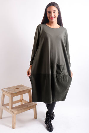 Baby Cord Cocoon Dress Khaki