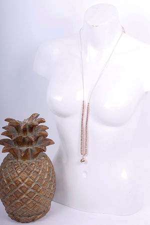 Ball & Link Long Necklace Rose