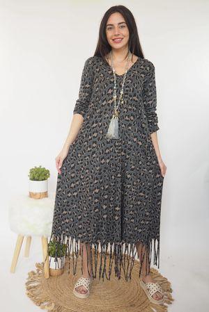 Bam Bam Leopard Dress Graphite