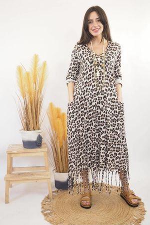 Bam Bam Leopard Dress Stone
