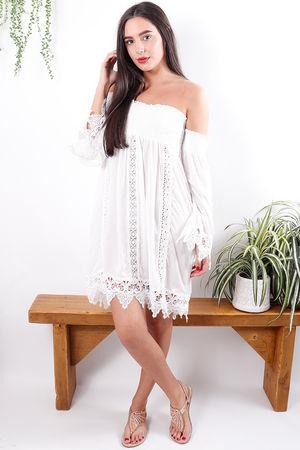 Bardot Lace Ibiza Dress White