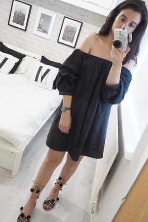 Bardot Ruffle Sleeve Tunic Dress Black