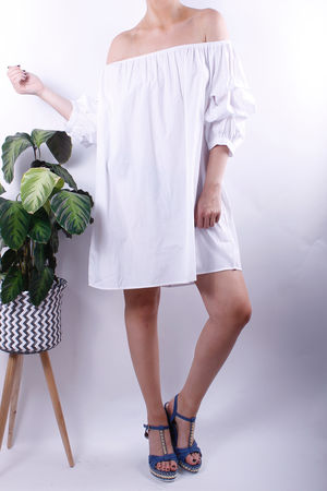Bardot Ruffle Sleeve Tunic Dress White