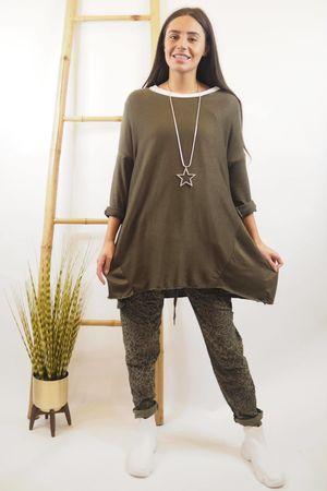 Basic A Line Fine Knit Khaki