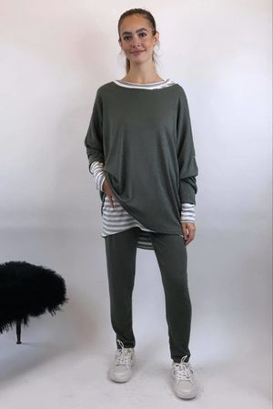 Basic Relaxed Fine Knit Lounge Suit Khaki