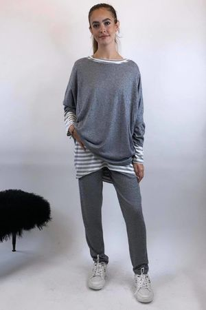 Basic Relaxed Fine Knit Lounge Suit Marl Grey