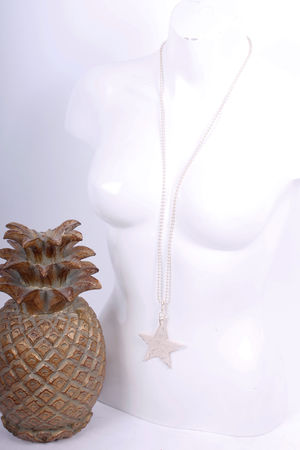 Basked Star Long Necklace Soft Gold