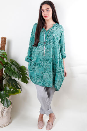 Batik Oversized Tunic Shirt Emerald
