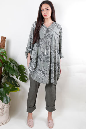 Batik Oversized Tunic Shirt Soft Khaki