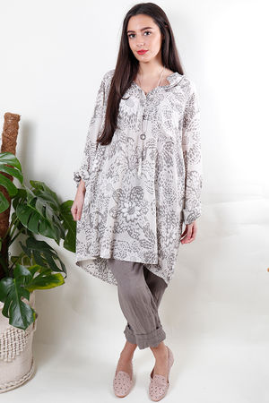 Batik Oversized Tunic Shirt Stone
