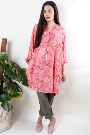 Batik Oversized Tunic Shirt Sunset