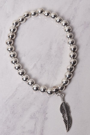 Beaded Feather Bracelet Silver