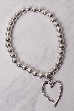 Beaded Heart Bracelet Silver