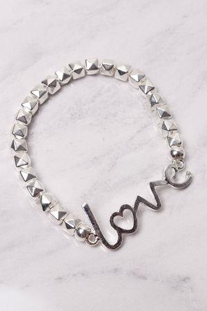 Beaded Love Bracelet Silver