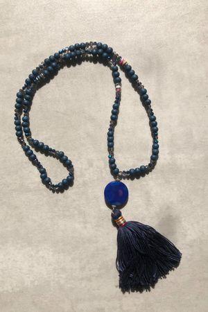 Beaded Tassel Necklace Navy