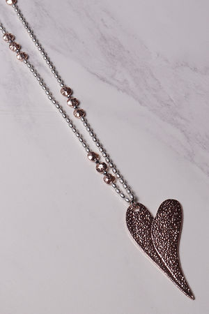 Beaded Textured Heart Necklace