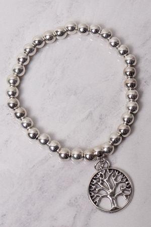 Beaded Tree Of Life Bracelet Silver
