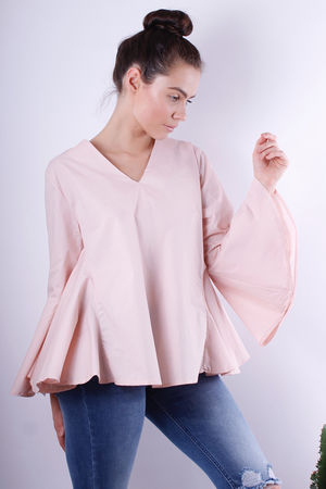Bell Sleeve Trapeze Blouse Blush