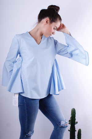 Bell Sleeve Trapeze Blouse Powder