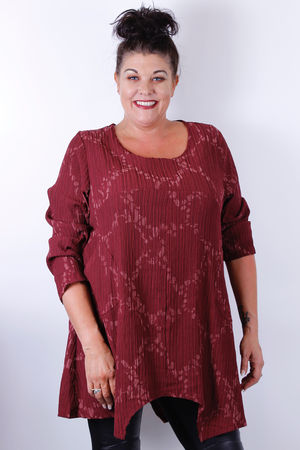 Bella Blue Bordeaux Crinkle Pleat Seam Dip Side Pocket Tunic