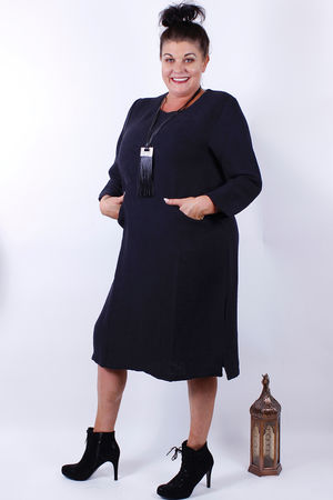 Bella Blue Noir Textured Pocket Dress