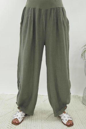 Benji B Lux Linen Pant Khaki
