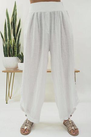 Benji B Lux Linen Pant White