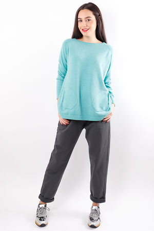 Benji Button Side Knit Sea Green