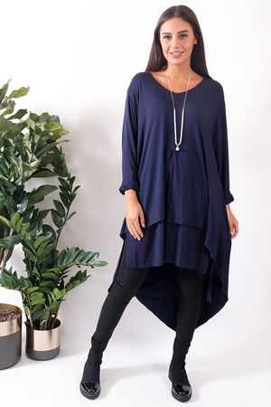 Bergen Asymmetric Two Layer Top Navy