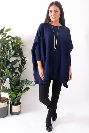 Bergen Oversized Button Knit Navy