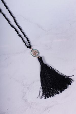 Black Bead Small Tree of Life Tassel Necklace